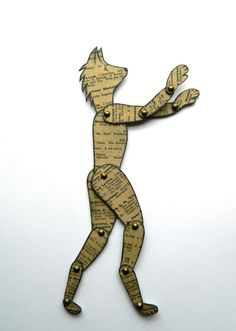 Wolf paper Doll Jointed Wolf Doll Wolf Man Paper by JuliaPeculiar