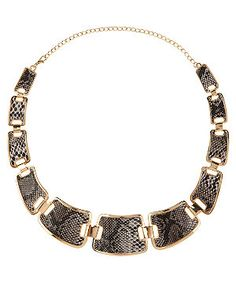 Charcoal (Grey) Grey Snakeskin Chain Necklace   278457603   New Look