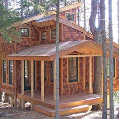 Awsom Tiny House - Island Tree House by David Matero Tiny Cabins, Tiny House Cabin, Cabins And Cottages, Tiny House Living, Log Cabins, Little Cabin, Little Houses, Tiny Houses, Pool Houses