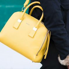 Nothing mellow about this yellow: Furla Twiggy Medium Top-Handle Bag Saffron