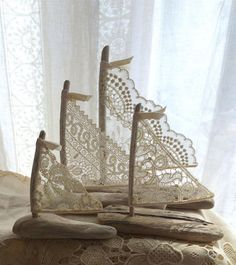 Pre-Order Now Beautiful Romantic Driftwood Beach Decor Sailboats w / Antique and Vintage Lace Sails Seaside Lakeside Cottage Wedding - ~ Cottage decor, cake toppers, gifts or favors ~ beautiful beyond compare! Driftwood Beach, Driftwood Crafts, Lakeside Cottage, Beach Cottage Decor, Antique Lace, Vintage Lace, Granny Pods, Cottage Wedding, Selling Handmade Items