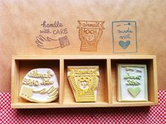 hand carved rubber stamps for mail -  sooo darling