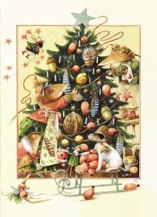 Kerstkaart - familie-de-muis-tuigt-kerstboom-op