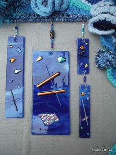 Close up of the fused glass tiles I made and added to my wall hanging