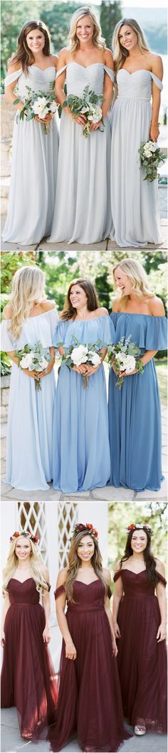 Off the shoulder bridesmaid dresses#weddings #dresses #weddingideas #bridesmaids ❤️ http://www.deerpearlflowers.com/bridesmaid-dress-trends-for-2018/
