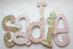 Custom Hanging Wooden Nursery Letters- Floral Chic Theme- hanging wall letters, wooden letters, custom nursery decor on Etsy, $15.00