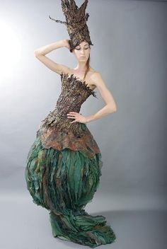 Fariba Mirzaie of Vancouver, a textile artist of Iranian origin, created this piece. She calls this piece Green Tea. It's made from chiffon, polyester and satin that has been hand printed, pressed, crinkled, dyed and embellished.  For the Campbell River BC Wearable Art Show