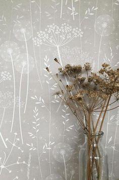 SAMPLE // Dusky Grey Pink Blush Floral Tonal Botanical Dandelion Woodland Wallpaper // Paper Meadow in 'Mallow' by Hannah Nunn Dandelion Wallpaper, Dandelion Clock, Botanical Wallpaper, Sample Paper, Paper Light, Piece A Vivre, Pattern Wallpaper, Pretty In Pink, Dibujo