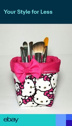 d4bee3082 Hello kitty makeup brush holder fabric cup foldable Office pen organizer  room