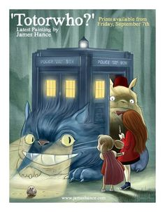 Totoro/Doctor Who crossover. To awesome! Doctor Who Jokes, Doctor Who Art, Torchwood, Dr Who, Crossover, Sherlock, Pixar, Le Vent Se Leve, Pokemon