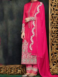 Be the queen in this beautiful pink palazzo style salwar kameez dupatta.This unstitched suit set captures the melody with delicate detailing at the placket - See more at: http://www.akalors.in/Salwar-Kameez/Devine-Reddish-Pink-Faux-Georgette-Straight-Cut-Designer-Suit-id-1889012.html#sthash.tfdgCW8S.dpuf