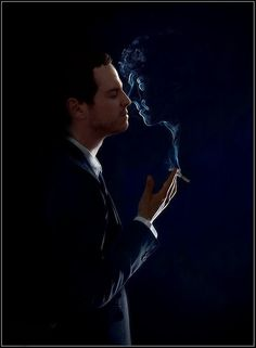"""""""Moriarty. I LOVE that the smoke forms Sherlock's face."""" i didnt even notice Sherlock untill after reading the comments"""