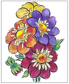 Nicole's Free Coloring Pages: March 2020 Fruit Coloring Pages, Horse Coloring Pages, Flower Coloring Pages, Mandala Coloring Pages, Coloring Books, Fruit Flowers, Colorful Flowers, Spring Flowers, Tulip Colors