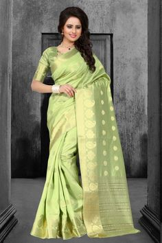 Buy Green Tussar Silk Saree With Blouse 67596 with blouse online at lowest price from vast collection of sarees at Indianclothstore.com.