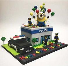 Police Birthday Cakes, Police Car Cakes, Birthday Party Tables, Cars Birthday Parties, 5th Birthday, Birthday Ideas, Bolo Lego, Lego Cake, Cars Cake Pops