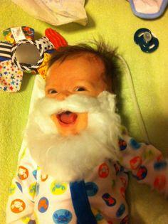 Apparently my 2 month old son really likes Santa's beard...