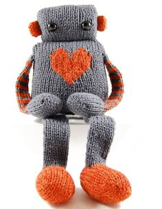Louie the Lovebot, I know this is knitting, but seriously why not get creative and make it from those old discarded socks! Pretty easy project!