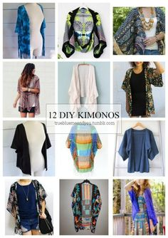 DIY 12 Favorite Kimono Tutorials from True Blue Me & You. I love finding new and different kimono DIYs because they are perfect for summer, cheap, easy to make and very customizable to whatever size y