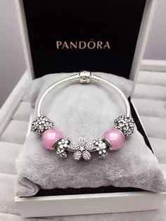 50% OFF!!! $199 Pandora Charm Bracelet Pink White. Hot Sale!!! SKU: CB01643 - PANDORA Bracelet Ideas