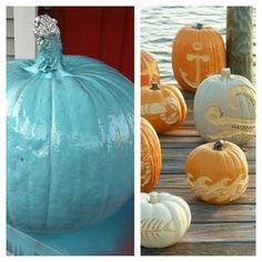 Decided To Spray Paint My Pumpkin This Year U0026 Carve TWO Designs From Coastal  Living Magazine