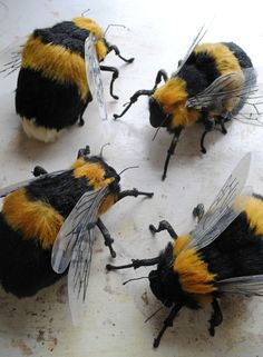 Textile Bees By Mister Finch faux taxidermy textile art sculpture genius Mr Finch, Mister Finch, Sculpture Textile, Soft Sculpture, Bee Art, Like Animals, Felt Animals, Bees Knees, Vintage Textiles