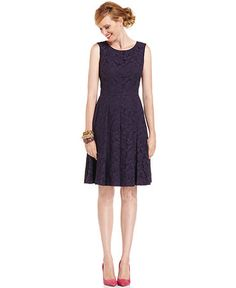 Jones New York Dress, Sleeveless Pleated Lace A-Line   $149.00  3.5 / 5  2 reviews