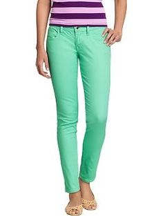Skinny mint green jeans