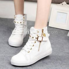new products 63c54 84d90 Mujer Zapatos Tela Primavera   Otoño Tacón Plano Hebilla   Cremallera   Con  Cordón Negro   Blanco   Casual
