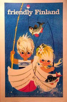 The Friendly Country _______________________________ La Finlande ~ Suomi ~ Finland Vintage Artwork, Vintage Images, Graphic Design Illustration, Illustration Art, Illustrations, Finland Travel, Pub, Old Ads, Book Images