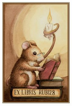 Reading mouse ||| mice, anthropomorphic. artist?