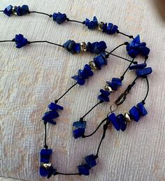 Lapis lazuli necklace blue and gold necklace gemstones and