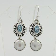 Genuine BLUE TOPAZ & PEARL Gemstones Vintage Style Earrings 925 Sterling Silver #SunriseJewellers #DropDangle