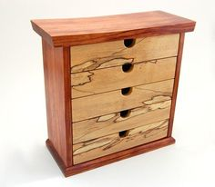 Custom Made Bubinga And Spalted Maple Jewelry Box