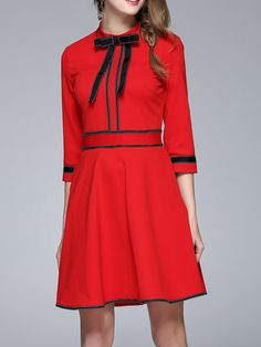 Shop Midi Dresses - Red A-line Casual Polyester Binding Midi Dress online. Discover unique designers fashion at StyleWe.com.