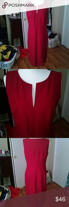 Great Ann Taylor red dress! Great fit! Worn once! Nice Ann Taylor Loft red dress, could use an iron run over it, but otherwise practically new! Ann Taylor Dresses