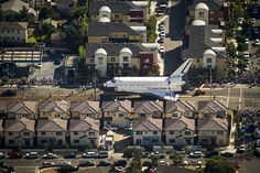 The #Endeavour makes its way down Manchester Blvd. Credit: Jay L. Clendenin /  Los Angeles Times