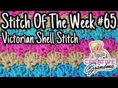 Stitch of the Week # 65 Victorian Shell Stitch - Crochet Tutorial Diy Crochet Halter Top, All Free Crochet, Crochet Shell Stitch, Single Crochet Stitch, Crochet Poncho, Crochet Stitches, Braidless Crochet, Loom Knit Hat, Foundation Single Crochet