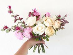 Pink, cream and blush garden-style wedding bouquet