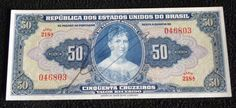Cédula de 50 Cruzeiros (FE) 1ª Estampa de 1943 Autografada.