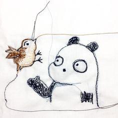 【一日一大熊猫】2016.11.18 Twitterの運営が苦しいらしいね。 物凄くユーザー数は多いのに、まだまだ獲得しないといけないんだね。 #パンダ #Twitter #ソーイングイラスト #ミシン