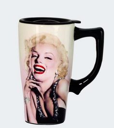 Marilyn Monroe Laughing Ceramic Travel Mug