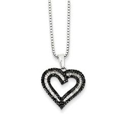 Silver 1/3 Carat White Black Diamond Open Heart Pendant Necklace Available Exclusively at Gemologica.com