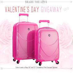 Want to win Luggage Giveaway Enter for a chance to win a Strawberry Pink L? I just entered to win and you can too. http://gvwy.io/y1cecbk Pink Luggage, Luggage Sets, Enter To Win, Travel Accessories, Places To Travel, Places To Go, 4 Hours, Super Bowl, Textbook