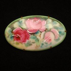 Hand-Painted Roses on China Porcelain Pin