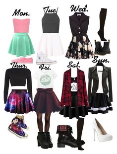 """""""Week of skirts"""" by haleyngarcia ❤ liked on Polyvore"""