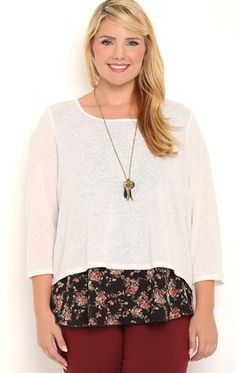 Deb Shops Plus Size Knit Sweater with Envelope Back and Floral Layer $22.00