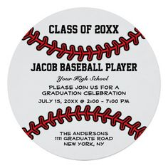 Graduation baseball ticket invite diy printable baseball party baseball player class of 2015 graduation party invitation personalize this custom designed unique round baseball graduation party invitation with a red filmwisefo