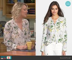 Penny's light grey floral blouse on The Big Bang Theory.  Outfit Details: http://wornontv.net/38651/ #TheBigBangTheory