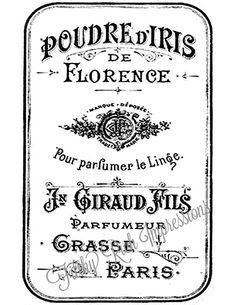 Vintage French Perfume Label Typography by FilthyRichImpression