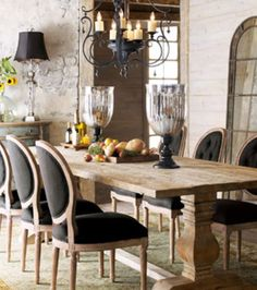 Dining room area and Decor. Love the combination of light and dark colors.